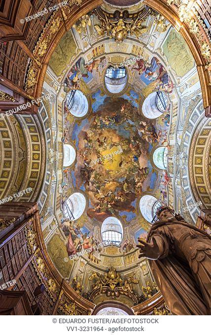 View of the ceiling of the Austrian National Library in Vienna, Austria