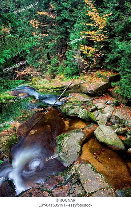 Poland, Sudetes, Karkonosze Mountains, Karkonoski National Park, stream in autumn forest wilderness