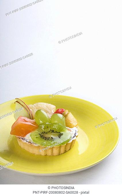 Close-up of fruit tart in a plate