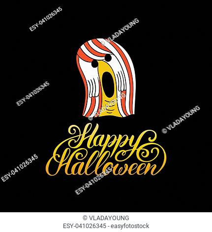 Ghost vector illustration with Happy Halloween lettering. All Saints Eve background. Festive phantom card