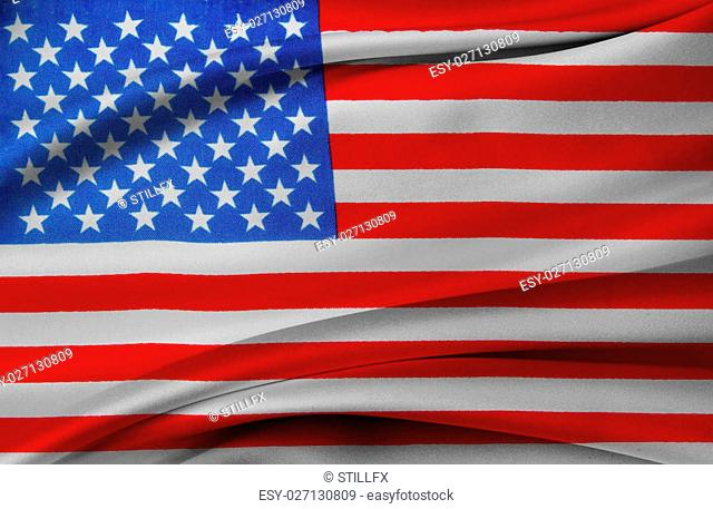 Closeup of silky American flag
