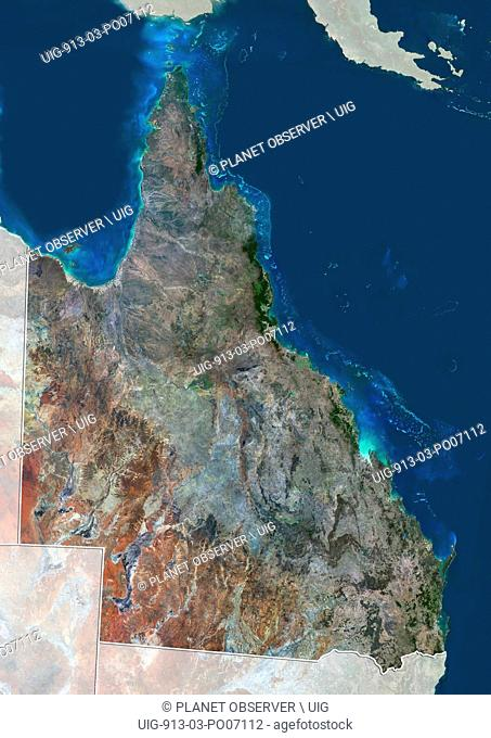 Satellite view of Queensland, Australia (with administrative boundaries and mask). The Great Barrier Reef extends along most of Queensland's coastline