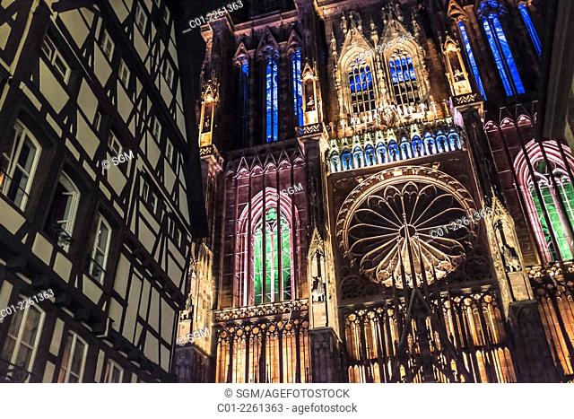 Summer illumination on Notre-Dame gothic Cathedral 14th century Strasbourg Alsace France