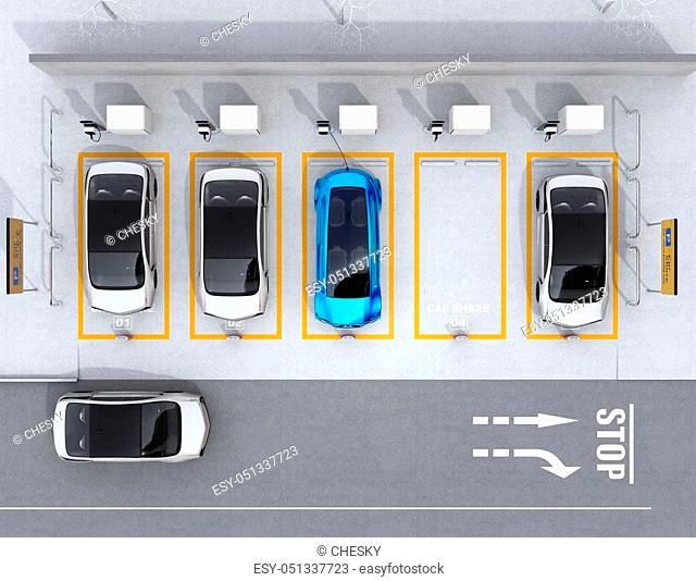 Aerial view of parking lot for car sharing business. 3D rendering image
