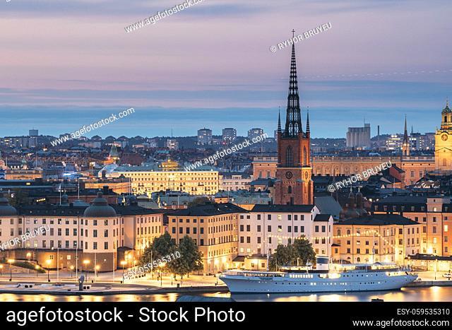 Stockholm, Sweden. Scenic View Of Stockholm Skyline At Summer Evening. Famous Popular Destination Scenic Place In Dusk Lights