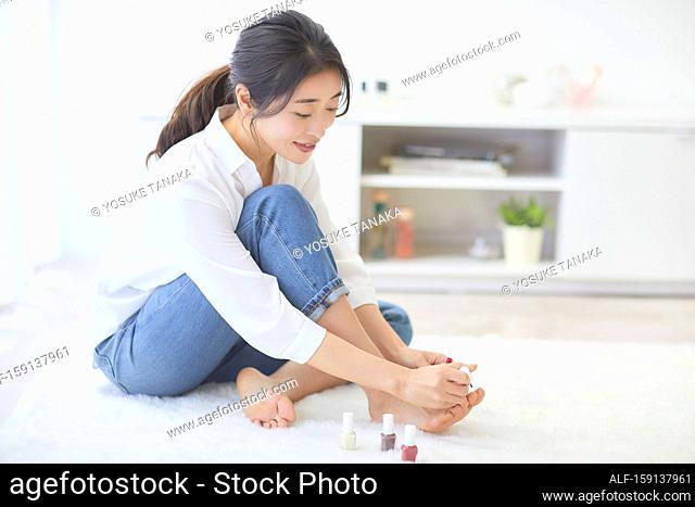 Japanese woman enjoying time at home