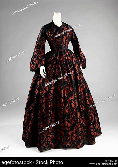 Evening dress. Date: 1860-62; Culture: American; Medium: silk; Credit Line: Brooklyn Museum Costume Collection at the museum, Gift of the Brooklyn Museum