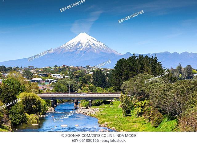 The Waiwhakaiho River, the city of New Plymouth, and Mount Taranki, New Zealand