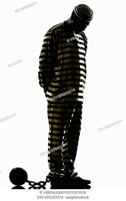 one caucasian man prisoner criminal with chain ball in studio isolated on white background