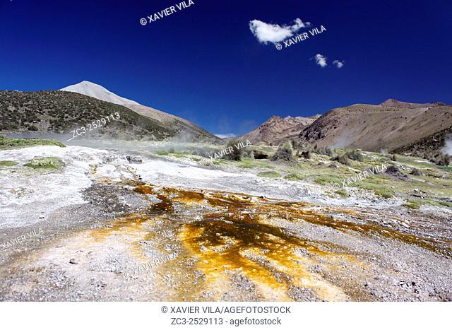Colors due to sulfur escaping geysers in the National park of Sajama, Altiplano, Bolivia