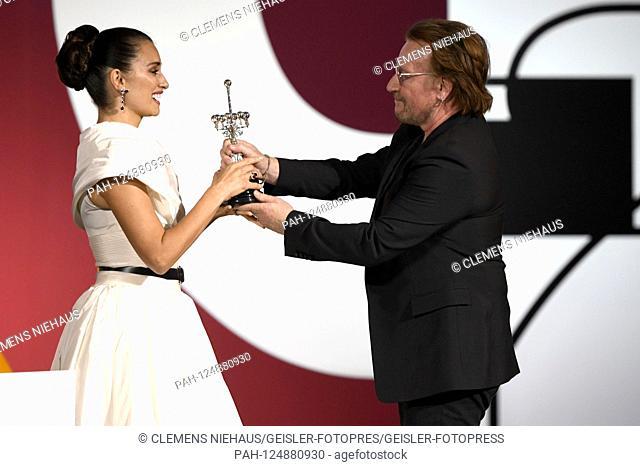Penelope Cruz with Bono at the Donostia Awards for her life's work at the 67th San Sebastian International Film Festival / Festival Internacional de Cine de San...