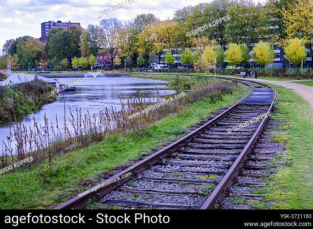 Tilburg, Netherlands. View on Tilburg's Spoorpark RailRoad Track