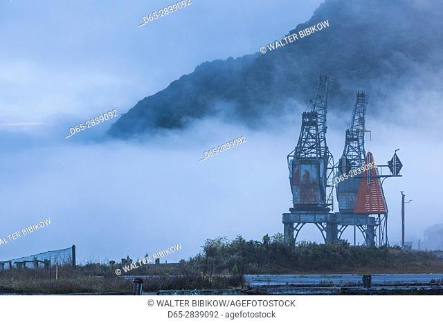 New Zealand, South Island, West Coast, Greymouth, port cranes