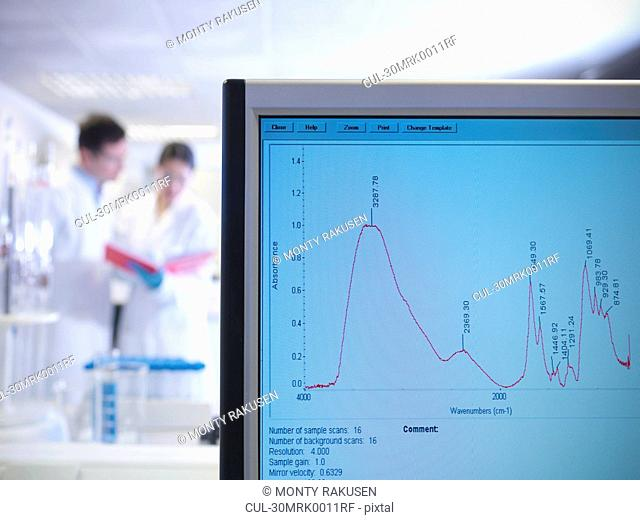 Scientists and monitor in laboratory
