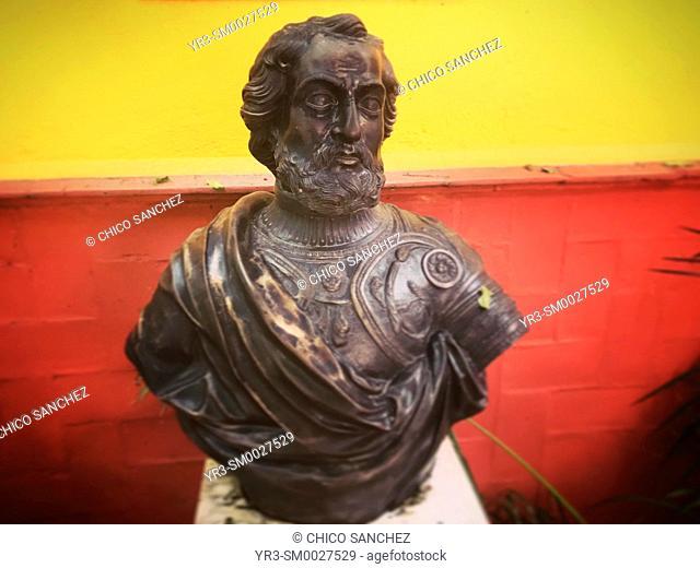 A sculpture of Spanish conquerer and founder of Mexico, Hernán Cortes, decorates Hacienda de Cortes in Coyoacan, Mexico