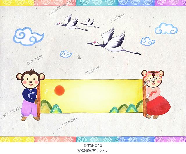 Background of new year greeting card with monkeys in traditional Korean clothes, cranes and clouds