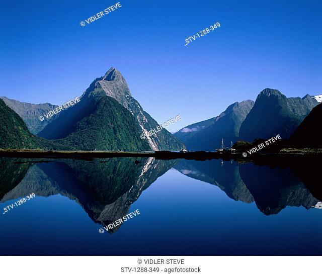 Fiordland, Holiday, Island, Lake, Landmark, Milford, Mitre, Mountains, National, New zealand, Park, Peak, Reflection, Serene, So