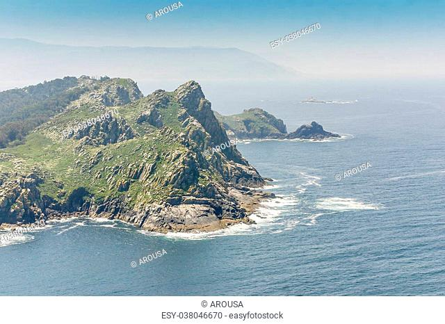 Cliffs of Cies Islands in Vigo Estuary
