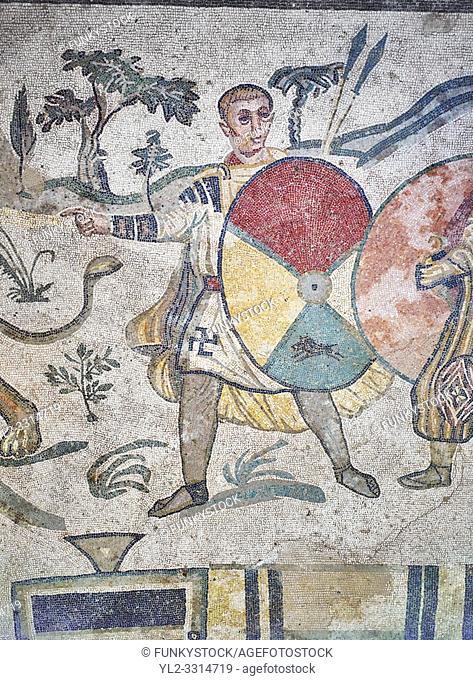 Ambulatory of the Great Hunt Roman mosaic, hunter, room no 28, at the Villa Romana del Casale, first quarter of the 4th century AD. Sicily, Italy