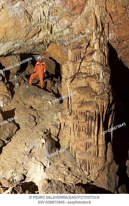 Caving in Niguella Cave, Zaragoza Province, Aragon, Spain