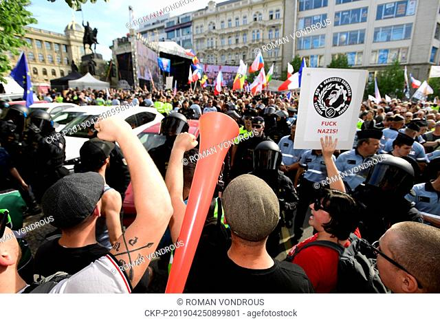 """A protest against the rally against """"""""dictate of the European Union"""""""" organised by Czech far-right Freedom and Direct Democracy party (SPD) at Wenceslas Square..."""