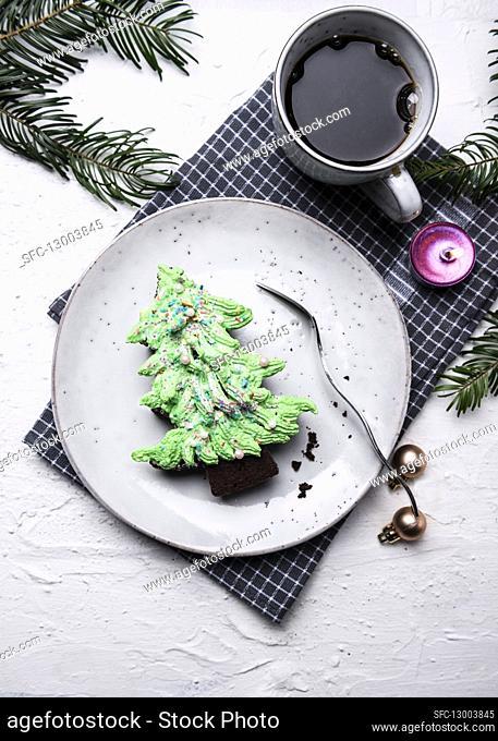 Vegan fir tree shaped brownies with butter cream