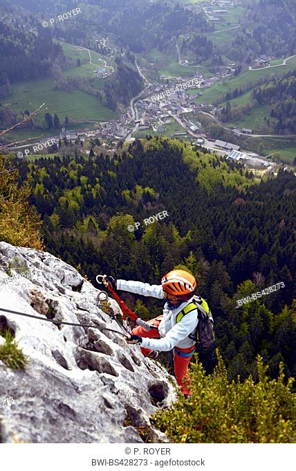 climber on rock face, Via ferrata de Roche Veyrand, Saint Pierre d'Entremont, France, Savoie, Chambery