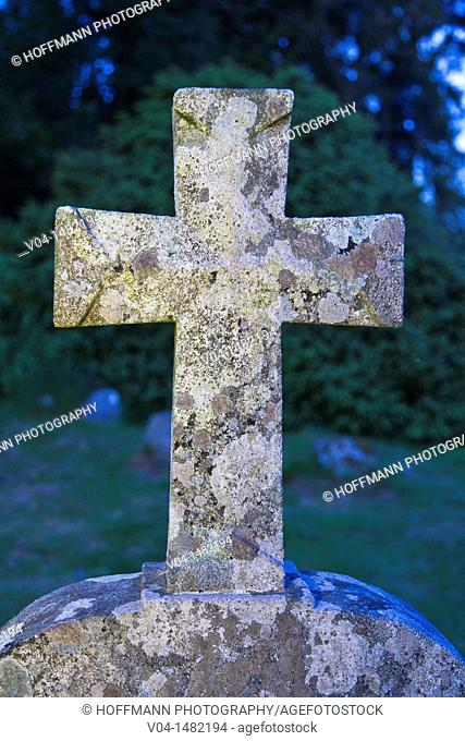 Cross at the graveyard of Glendalough, County Wicklow, Ireland, Europe