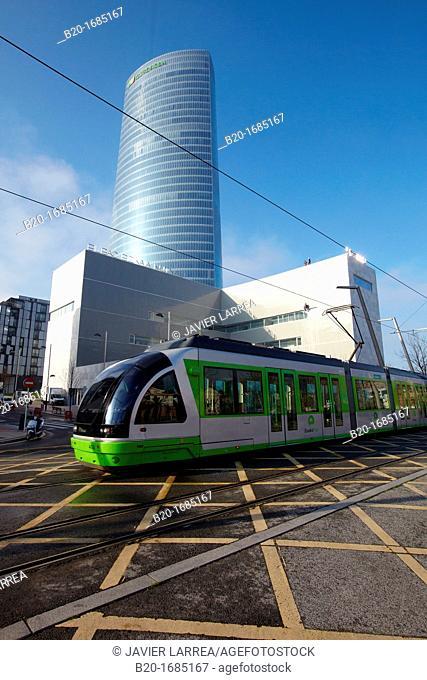 Urban tram, Euskotran, Iberdrola Tower, Abandoibarra, Bilbao, Bizkaia, Basque Country, Spain