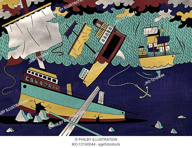 Old-fashioned sailing ship breaking up hitting rocks