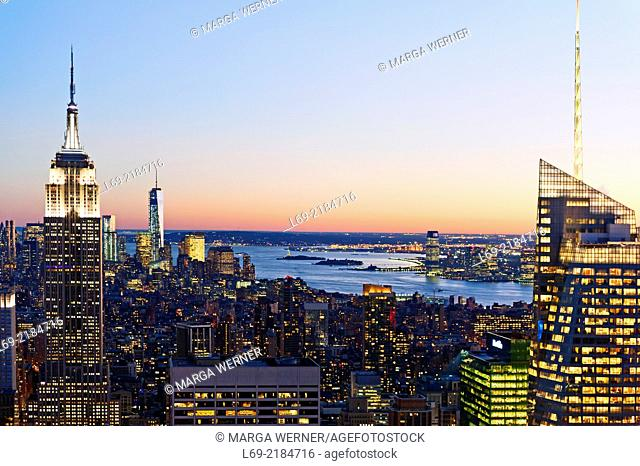 View from Rockefeller Center on Manhattan with Empire State Building, One World Trade Center and Bank of America, New York, USA