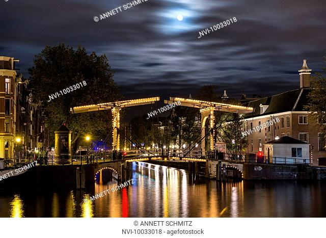Magere Brug at night, Amsterdam, Holland, Netherlands