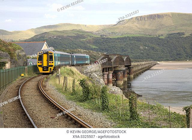 Arriva Train on Barmouth Railway Bridge; Wales; UK