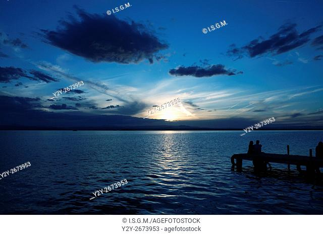 Sunset at La Albufera Lake, Valencia, Spain
