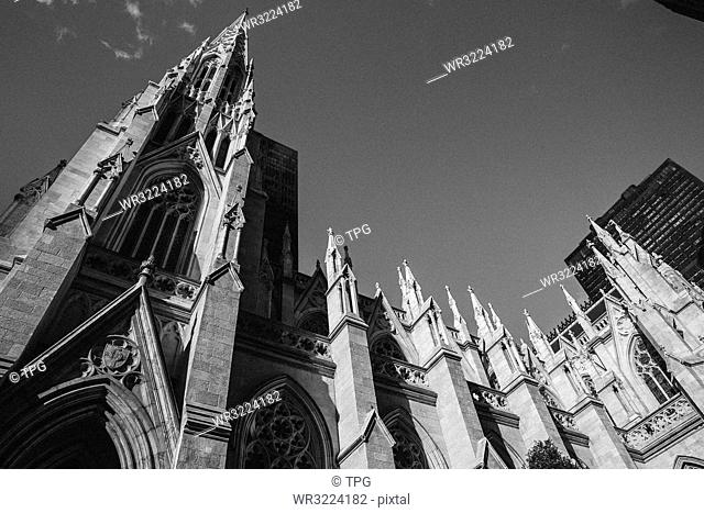 Low angle view of St. Patricks Cathedral, New York, USA