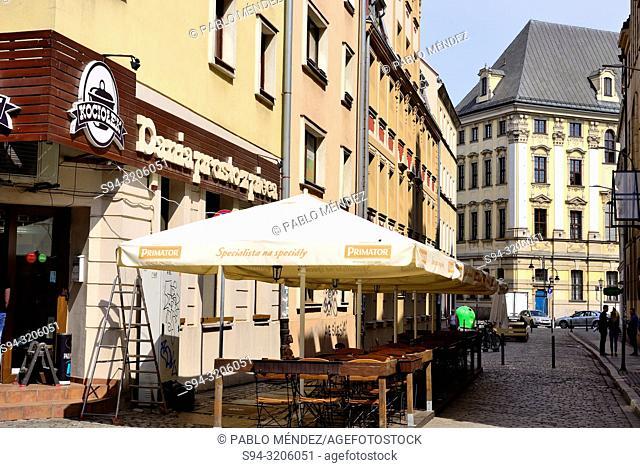 Pedestrian street in the center of Wroclaw, Silesia, Poland