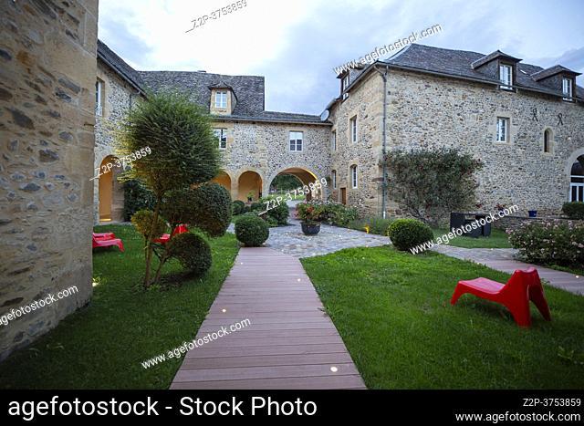 St Geniez d'Olt et d'Aubrac Midi Pyrenees Aveyron France on September 25, 2020: Chateau de la Falque is an hotel in Aveyron France