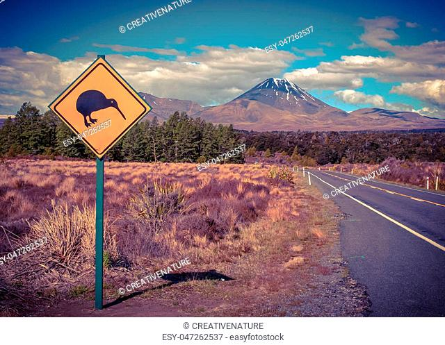 Kiwi warning sign with tongariro volcano in background New Zealand in vintage color toning