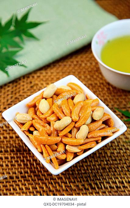 Japanese rice crackers with peanuts