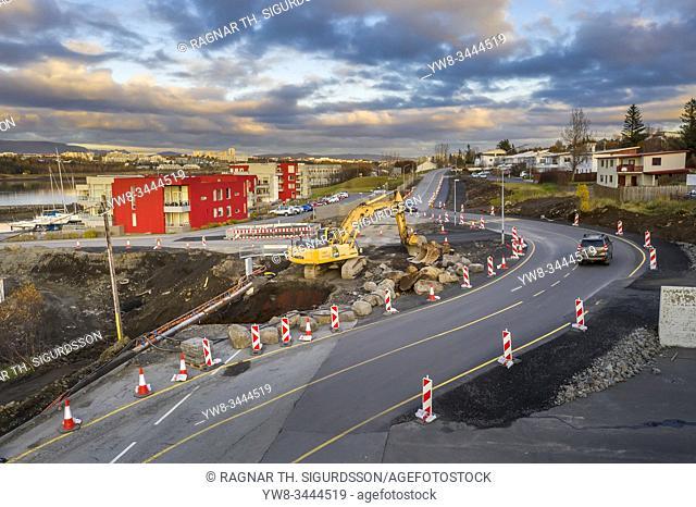 Road work in Kopavogur, suburb of Reykjavik, Iceland