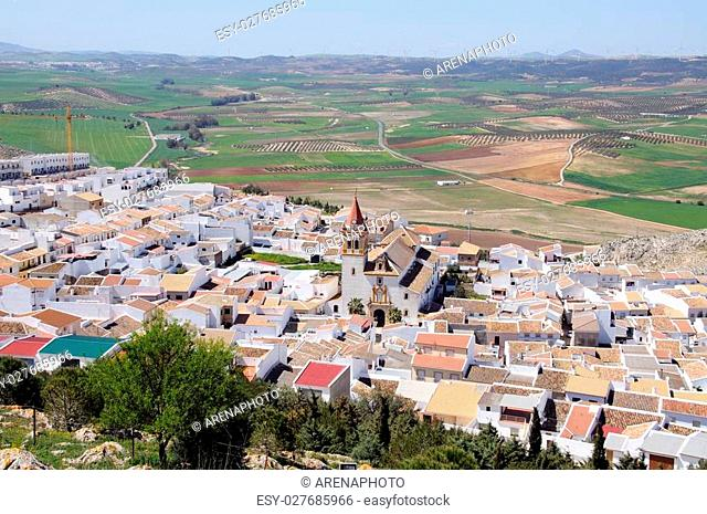 Spanish town and surrounding countryside, Teba, Malaga Province, Andalucia, Spain, Western Europe