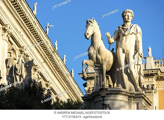 One of the two dioscuri (Gemini twins - or Castor and Pollux) statues on the Capitoline Hill in Rome