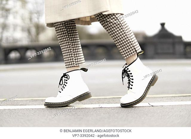 young woman's feet, Berlin, Germany