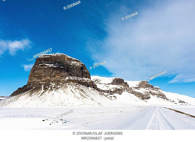 Icelandic mountain Lomagnupur in winter