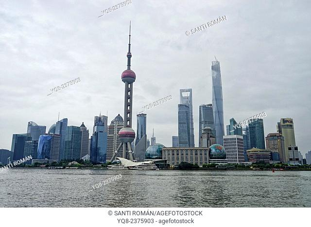 View of Pudong Business District Skyline from the 'Bund' or 'Wai Tan' and Huangpu River