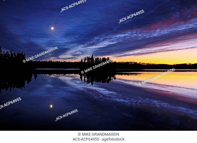 Moonrise over Longbow Lake, Kenora, Ontario, Canada