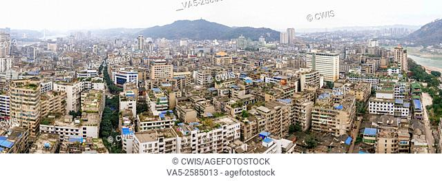 Yibin, Sichuan province, China - The view of Yibin city, a small city is famous for it's Chinese wine, Wuliangye