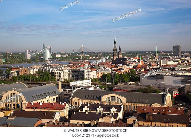 Latvia, Riga, Vecriga, Old Riga, elevated city view from Academy of Sciences building, morning