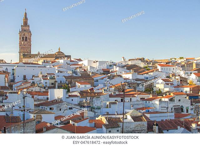 Jerez de los Caballeros townscape from Templar Fortress viewpoint. Church of San Bartolome tower at bottom