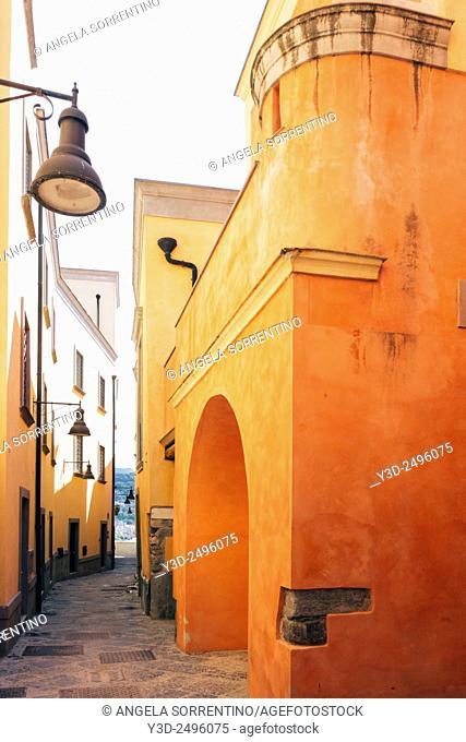 Alley in Pozzuoli, Orange Residential Buildings